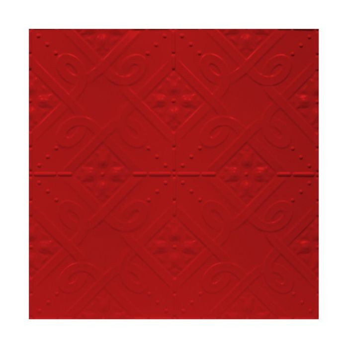 Tin Plated Stamped Steel Ceiling Tile | Lay In | 2ft Sq | Fire Engine Red Finish