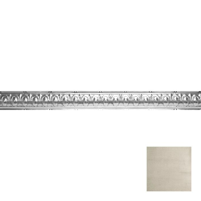 Tin Plated Stamped Steel Cornice | 3-1/2in H x 3-1/2in Proj | Old Lace Finish | 4ft Long