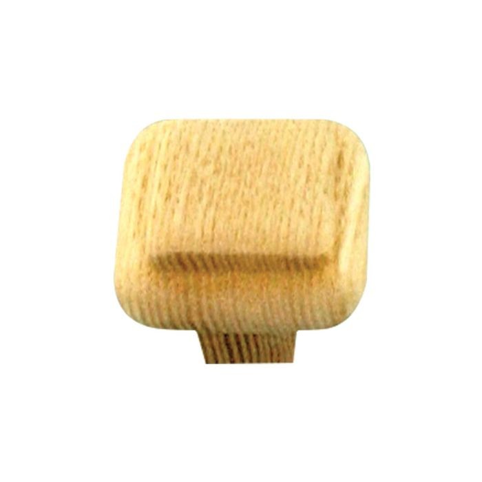 "1-1/4"" Square Unfinished Ash Wood Knob"