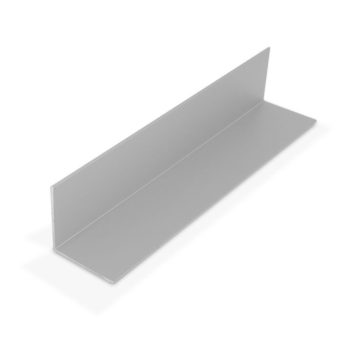 1-1/2in x 1-1/2in x 1/16in Thick | Clear Anodized (Satin) Finish Aluminum Even Leg | 90° Angle Moulding | 12ft Length