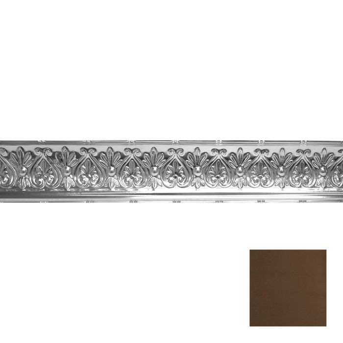 Tin Plated Stamped Steel Cornice | 6-1/4in H x 6-5/8in Proj | Antique Brass Finish | 4ft Long