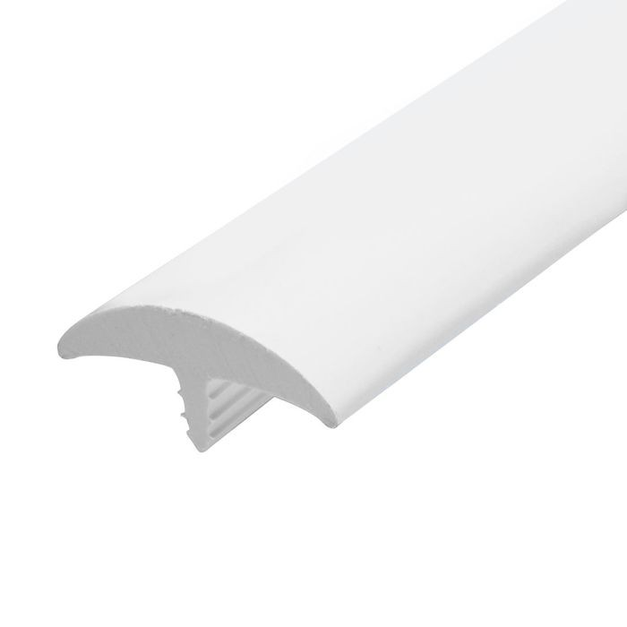 1-1/2in White Flexible PVC | Round Bumper Tee Moulding | 100ft Coil