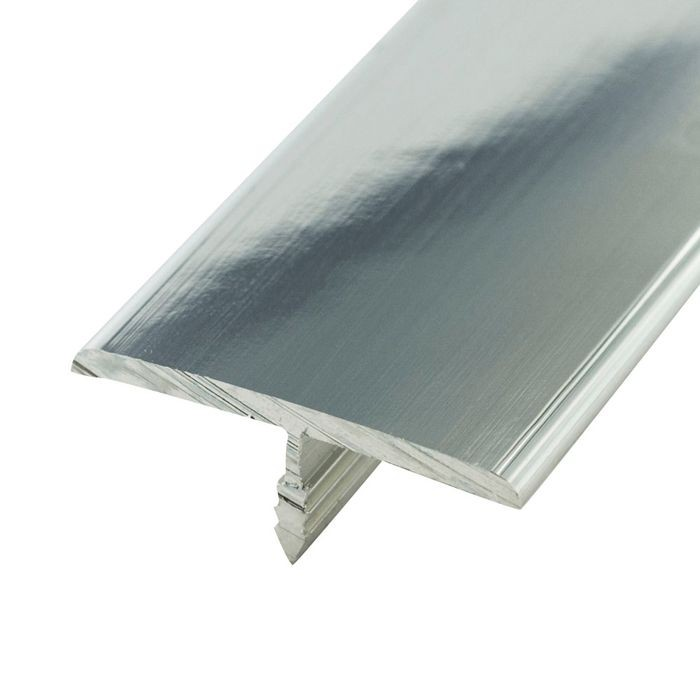1-1/4in Mechanical Polished Finish Flat Aluminum | Center Barb Tee Moulding | 12ft Length