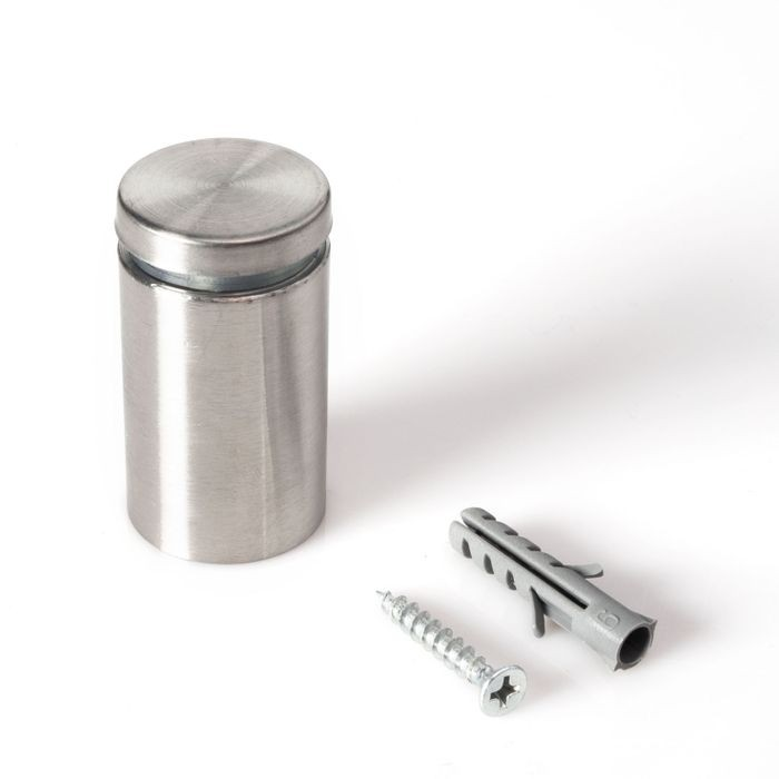 "1"" Diameter x 1-1/2"" Barrel Length Brushed Stainless Finish Eco Lite Series Easy Fasten Standoff"