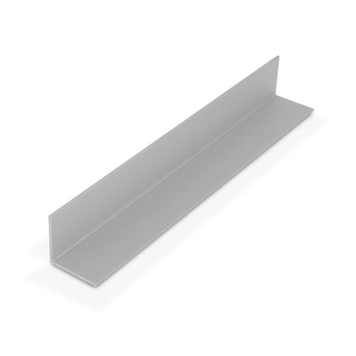 "1"" x 1"" x 1/16"" Thick Clear Anodized (Satin) Finish Aluminum Even Leg 90° Angle Moulding 12' Length"