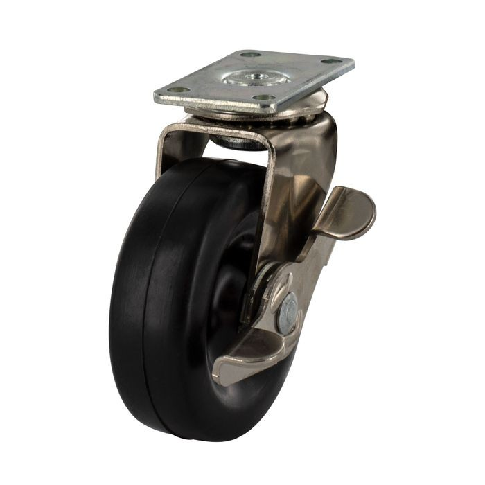 "1"" Diameter Zinc Plated Steel Swivel With Brake Summit Series Industrial Caster with 1-3/16 x 2"" Top Plate"