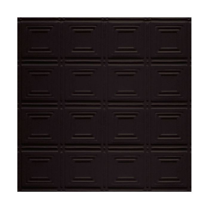 Tin Plated Stamped Steel Ceiling Tile | Nail Up/Glue Up Ceiling Tile | 2ft Sq | Black Finish