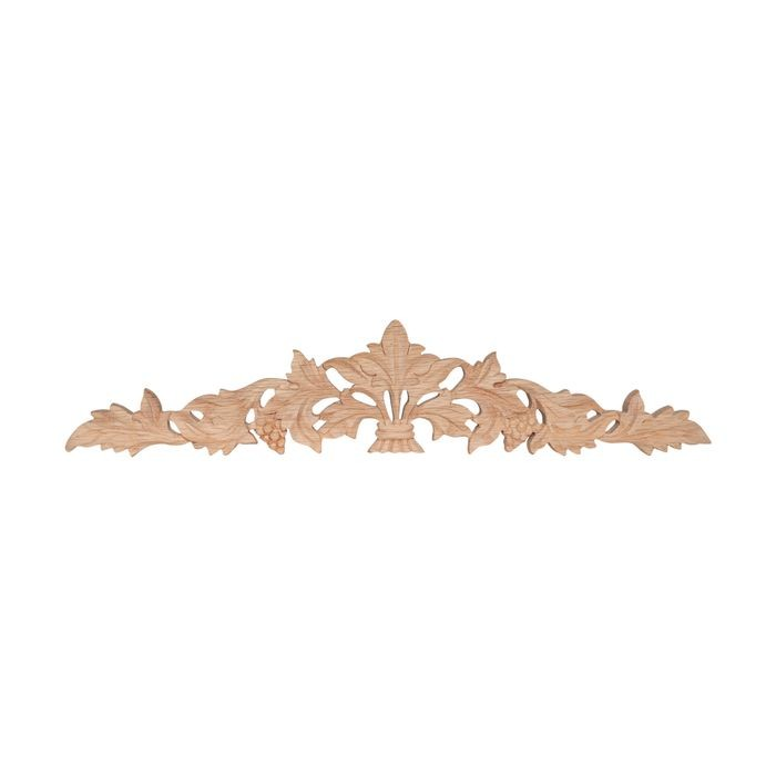 12in W x 2-1/2in H | Hand Carved | Solid North American Red Oak | Cartouche Applique | RWC20 Series