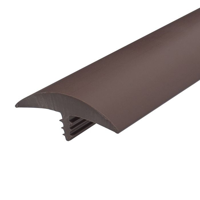 1-3/4in Brown Flexible PVC | Round Bumper Tee Moulding | 100ft Coil