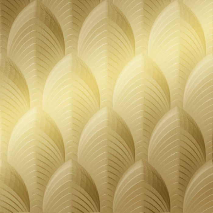 10' Wide x 4' Long South Beach Pattern Mirror Gold Finish Thermoplastic Flexlam Wall Panel