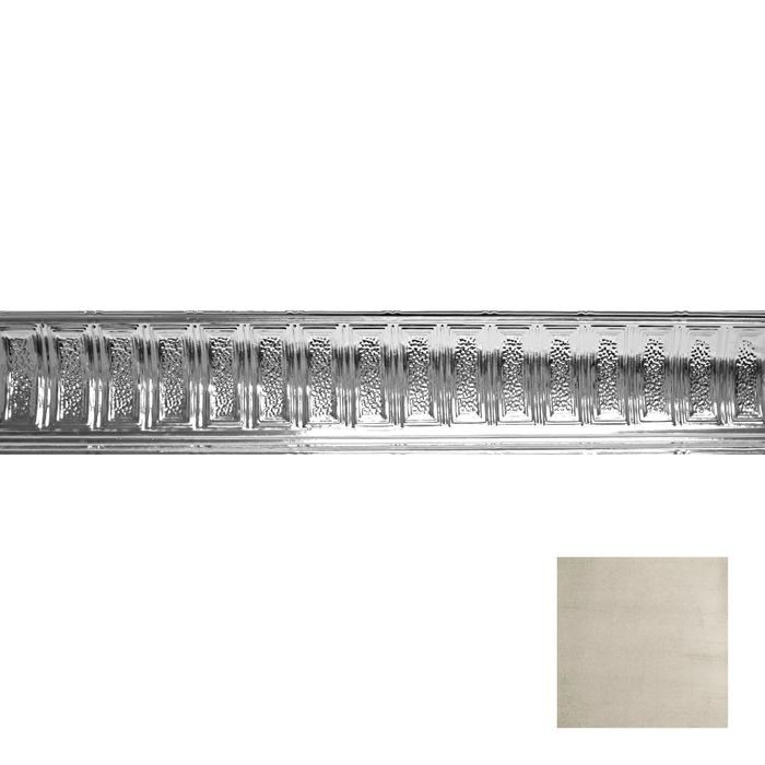 Tin Plated Stamped Steel Cornice | 6in H x 6in Proj | Old Lace Finish | 4ft Long