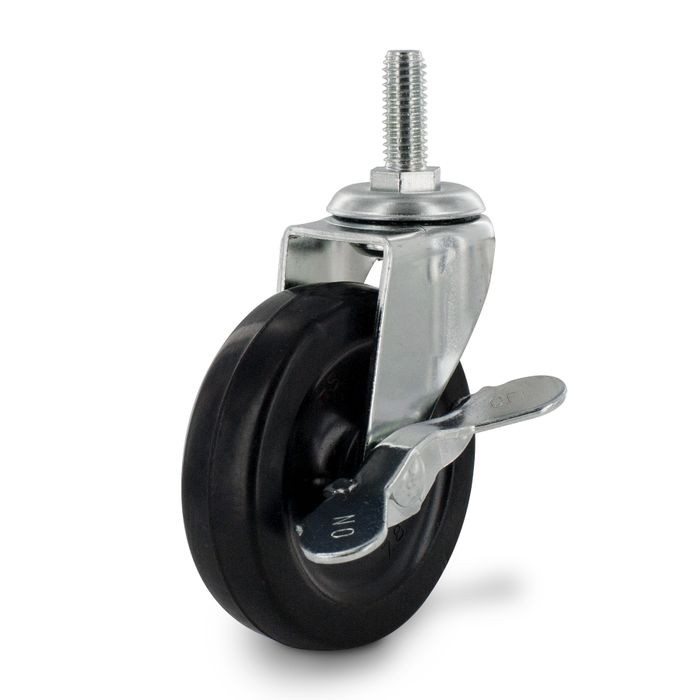 "3"" Diameter Black Swivel Imported Single Wheel Series Industrial Caster With Brake, 3/8-16 x 1"" Threaded Stem"