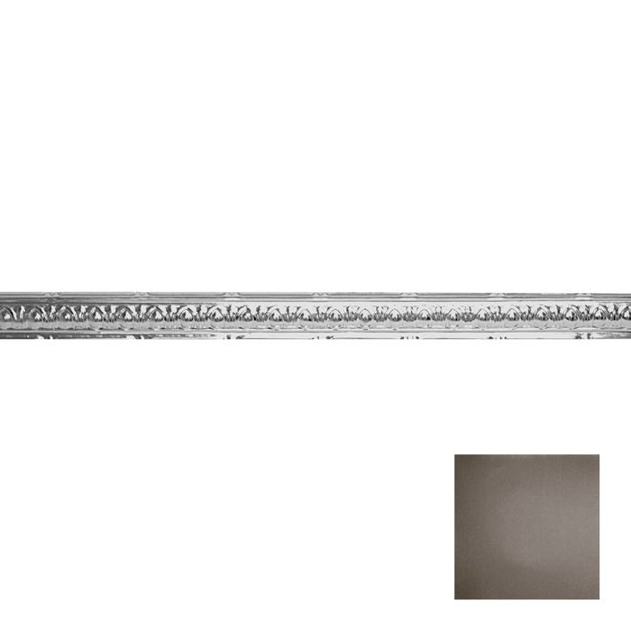 Tin Plated Stamped Steel Cornice | 2-1/2in H x 2-1/2in Proj | Knights Armor Finish | 4ft Long