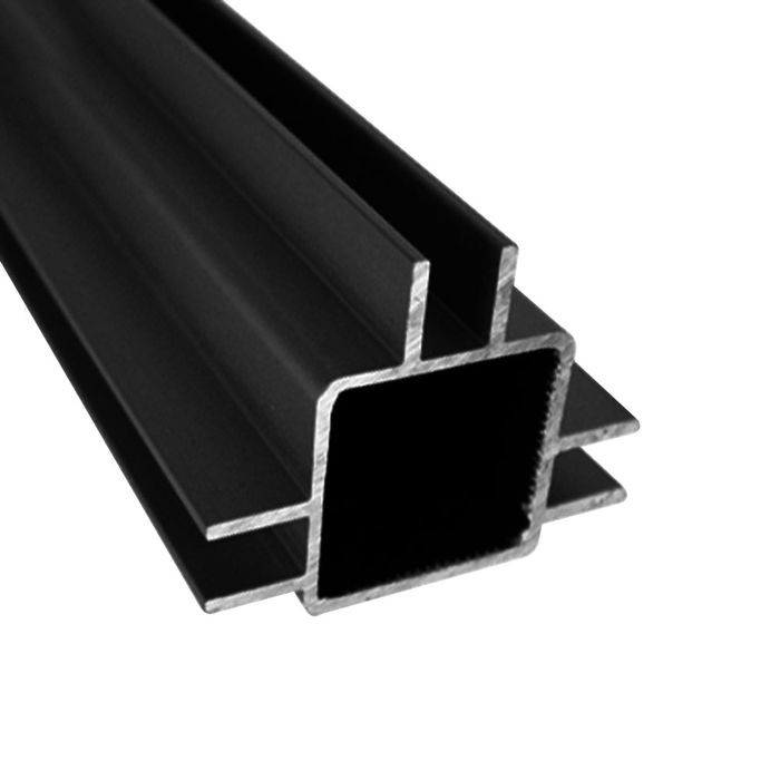 "1"" Square Flange Black Anodized Triple Channel for 1/4"" Panel Aluminum Tubing 8' Length"