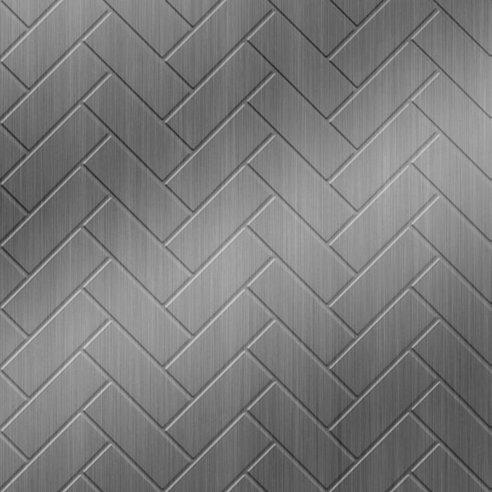 FlexLam 3D Wall Panel | 4ft W x 10ft H | Herringbone Pattern | Brushed Stainless Finish