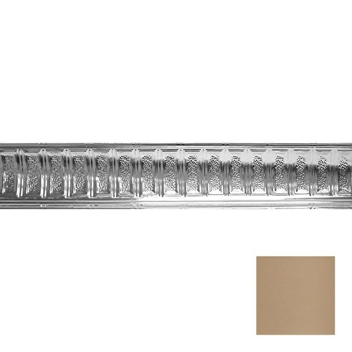 Tin Plated Stamped Steel Cornice | 6in H x 6in Proj | Enchanted Sand Finish | 4ft Long