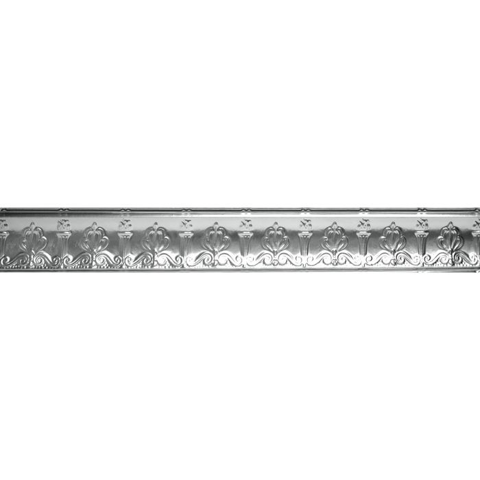 Tin Plated Stamped Steel Cornice | 4in H x 6-1/2in W x 4in Proj | Chrome Finish | 4ft Long