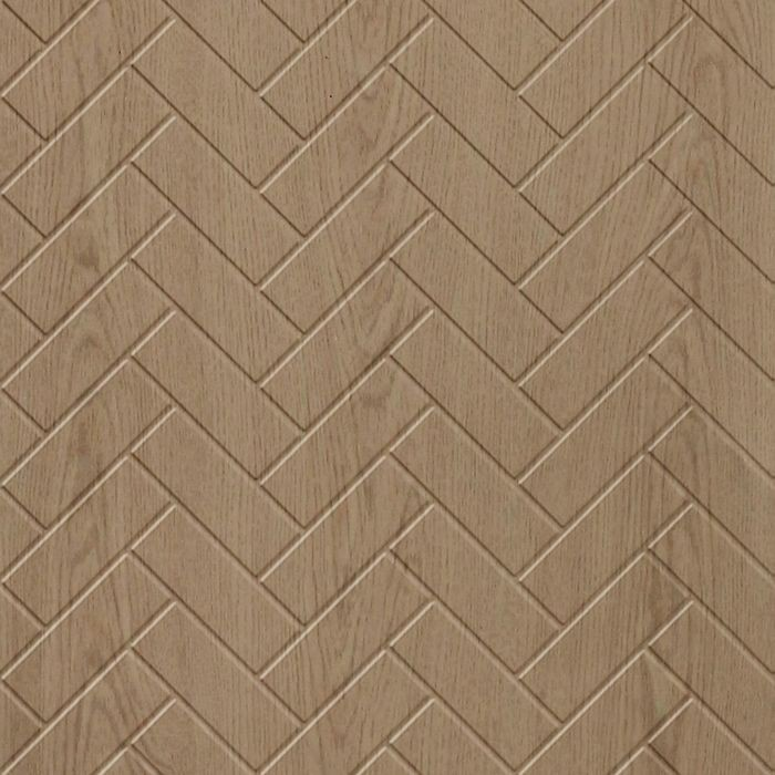 10' Wide x 4' Long Herringbone Pattern Washed Oak Finish Thermoplastic Flexlam Wall Panel