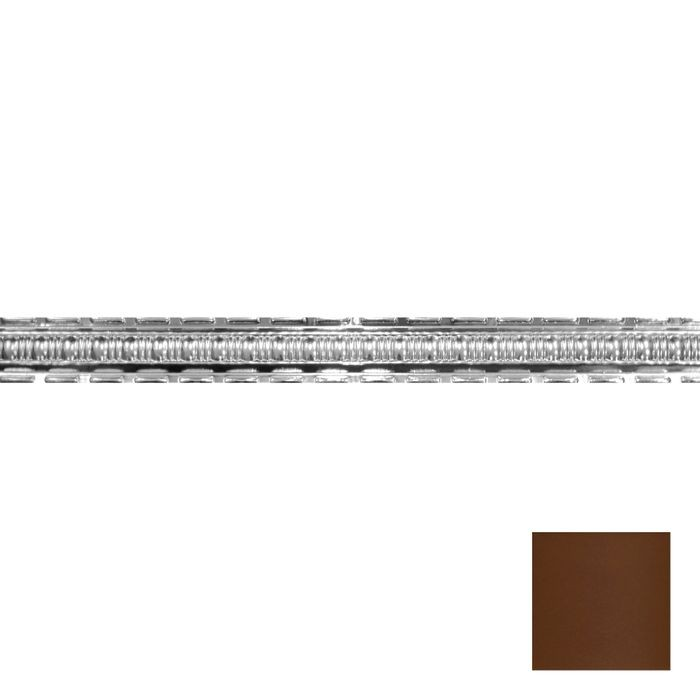 Tin Plated Stamped Steel Cornice | 2-1/2in H x 2-1/2in Proj | Koko Brown Finish | 4ft Long