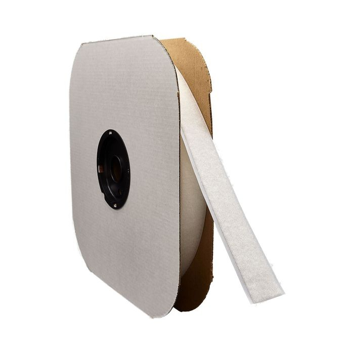 "1"" Wide White Standard Grade Velcro Loop Fastening Tape 75' Coil"