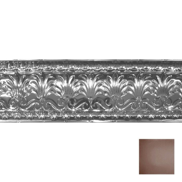 Tin Plated Stamped Steel Cornice | 10-1/2in H x 10-1/2in Proj | Marsala Pewter Finish | 4ft Long