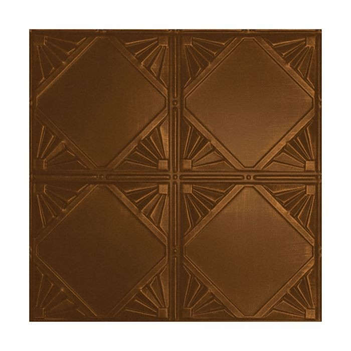 Tin Plated Stamped Steel Ceiling Tile | Nail Up/Glue Up Ceiling Tile | 2ft Sq | Antique Copper Finish