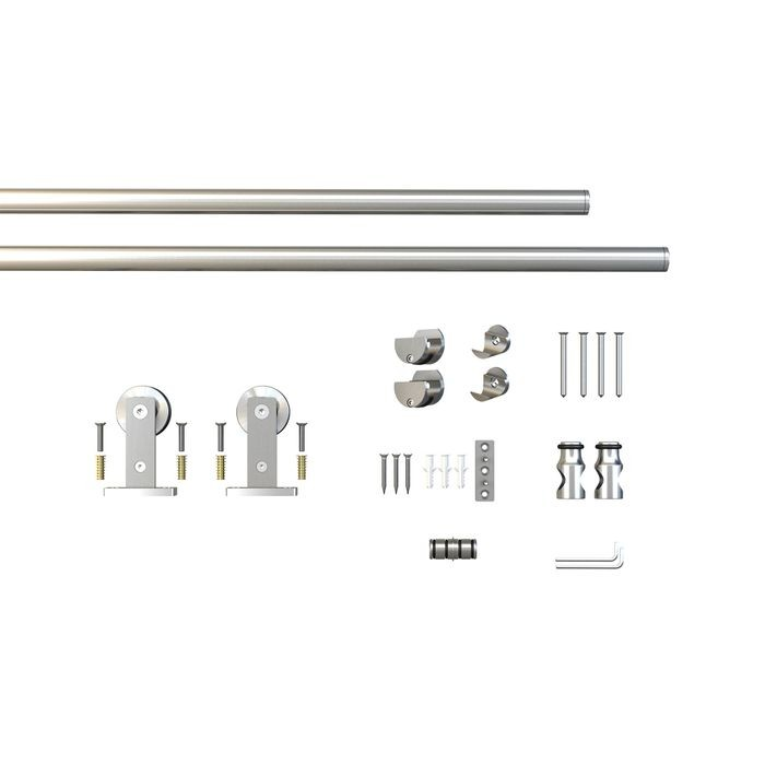Sliding Barn Door Hardware Kits for Single Wood Doors Up to 39in W | Stainless Steel Finish | 78-3/4in Rail Length