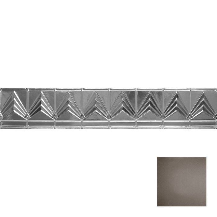 Tin Plated Stamped Steel Cornice | 6in H x 6in Proj | Knights Armor Finish | 4ft Long