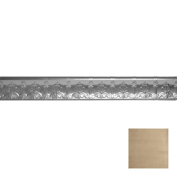 Tin Plated Stamped Steel Cornice | 4in H x 4in Proj | Monterey Finish | 4ft Long