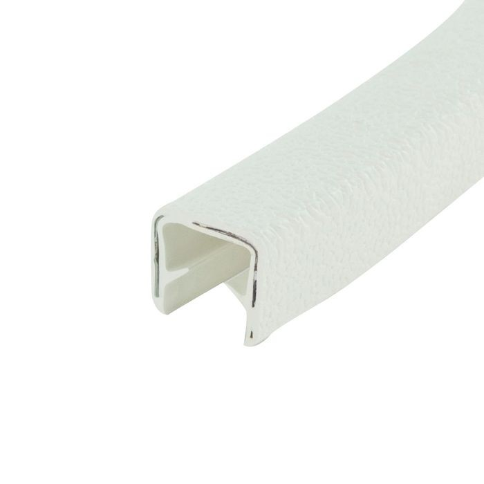 1/2in | White Embossed PVC with Segmented Aluminum Core | Flexible U Channel Moulding 150ft Coil