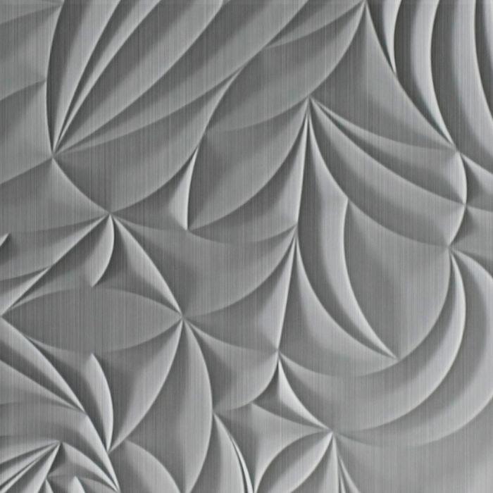 10' Wide x 4' Long Sculpted Petals Pattern Brushed Aluminum Finish Thermoplastic Flexlam Wall Panel