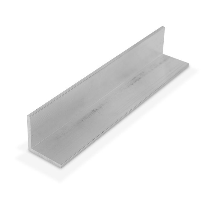 1-1/4in x 1-1/4in x 1/8in Thick | Mechanical Polished Finish Aluminum Even Leg | 90° Angle Moulding | 12ft Length
