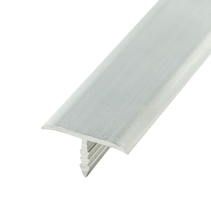 13/16in Clear Anodized (Satin) Finish Flat Aluminum | Center Barb Tee Moulding | 12ft Length