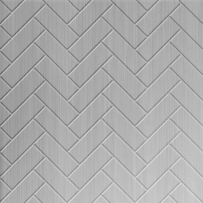 10' Wide x 4' Long Herringbone Pattern Brushed Aluminum Finish Thermoplastic Flexlam Wall Panel