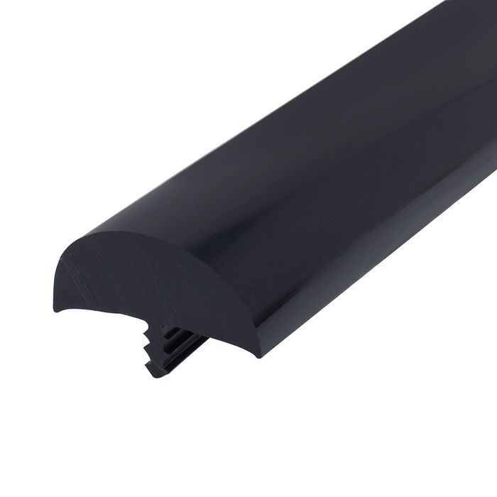 1-1/2in Glossy Black Flexible PVC | Bumper Tee Moulding | 50ft Coil