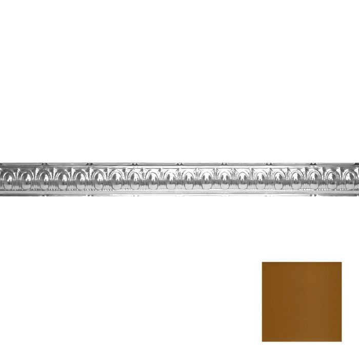 Tin Plated Stamped Steel Cornice | 3-1/2in H x 3-1/2in Proj | Champagne Finish | 4ft Long