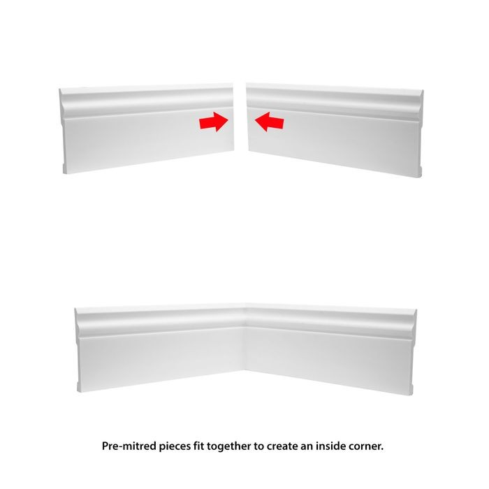 Trim Fast | White High Impact Polymer | Inside Baseboard Corner with Adhesive Back for TFM-4475-A