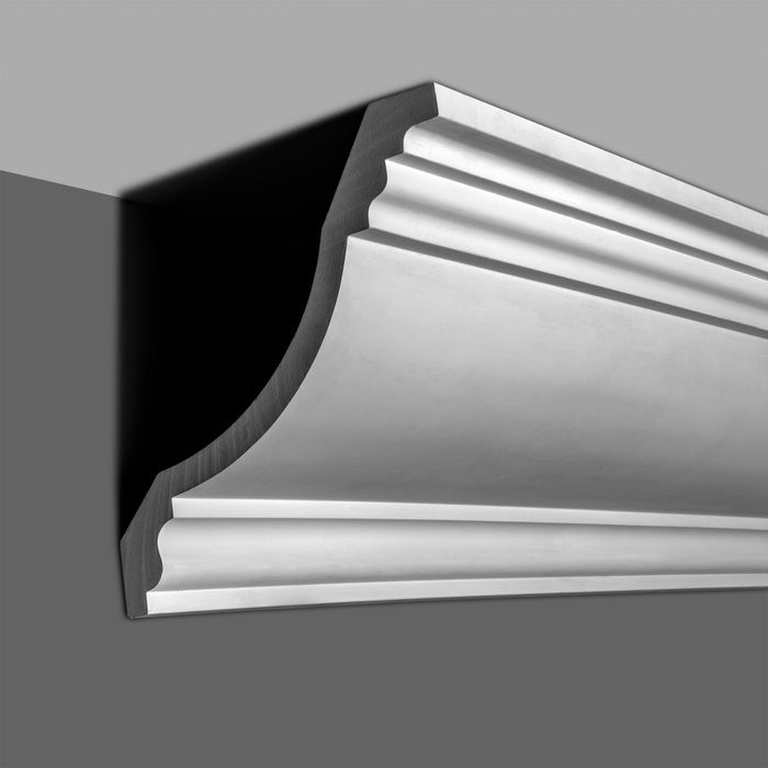 14in Face x 9-13/16in H x 9-13/16in Proj | Primed White Polyurethane | Crown Moulding | 96in Long