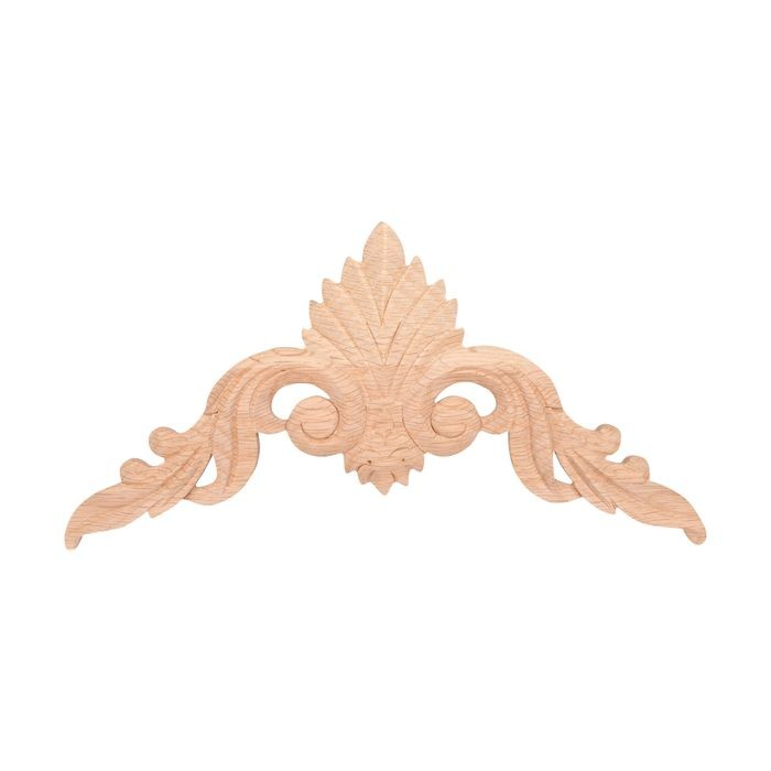 10-7/8in W x 5-1/2in H | Hand Carved | Solid North American Red Oak Cartouche Applique | RWC23 Series