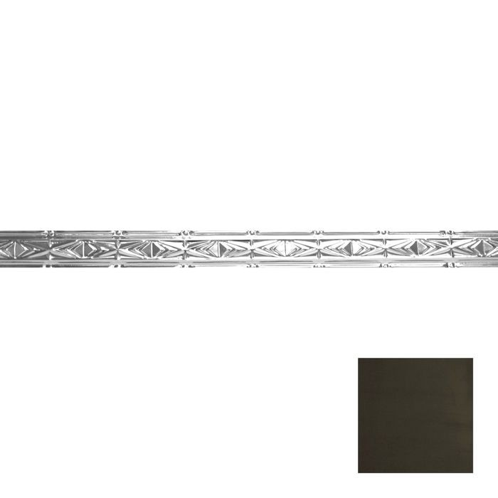 Tin Plated Stamped Steel Cornice | 3-1/2in H x 3in Proj | Antique Olive Finish | 4ft Long