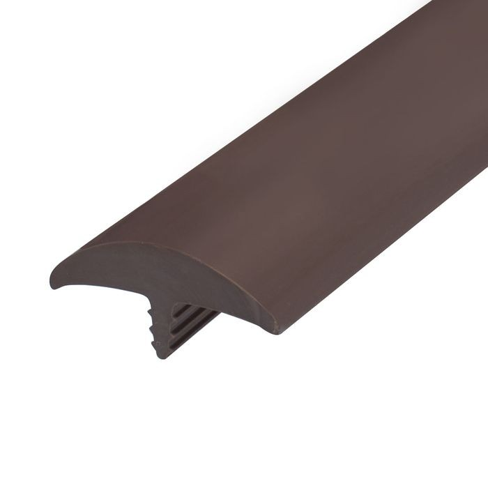 1-1/2in Brown Flexible PVC | Round Bumper Tee Moulding | 100ft Coil
