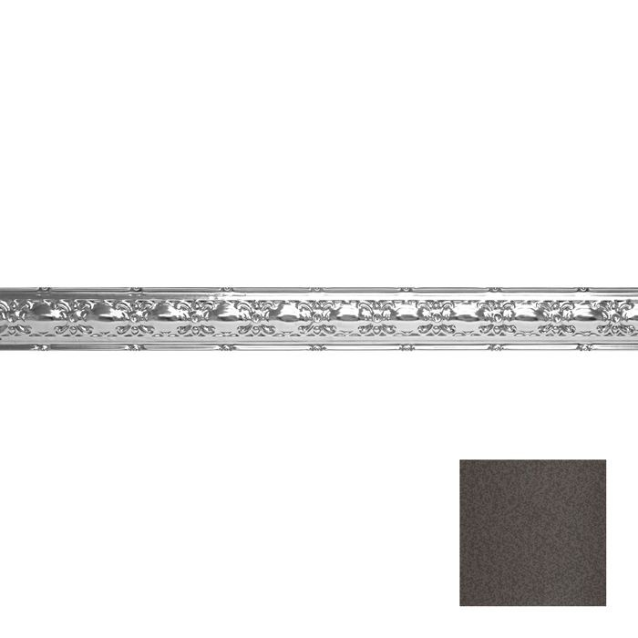 Tin Plated Stamped Steel Cornice | 4in H x4in Proj | Silver Vein Finish | 4ft Long