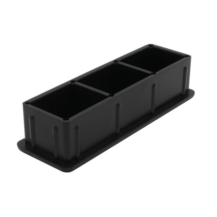 "1"" x 3"" Rectangular 14 Gauge Black Matte Finish ABS Plastic Inside End Cap for Tubing"