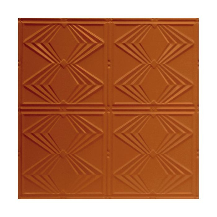 Tin Plated Stamped Steel Ceiling Tile | Lay In | 2ft Sq | Metallic Copper Finish