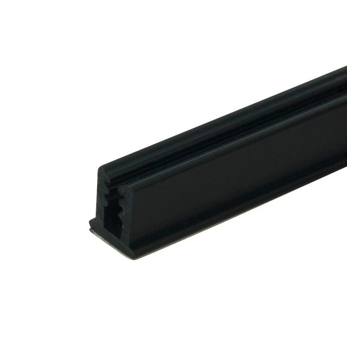 "1/8"" Black Rigid PVC/Dual Durometer U Channel Moulding With Adhesive 8' Length"