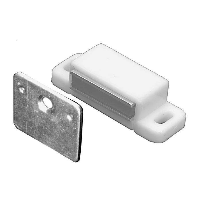 "1/2"" High x 5/8"" Wide x 1-13/16"" Long White ABS Plastic Magnetic Catch with Strike Plate"