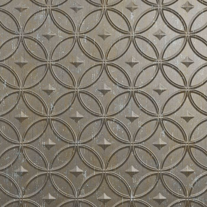 10' Wide x 4' Long Celestial Pattern Vintage Metal Finish Thermoplastic Flexlam Wall Panel