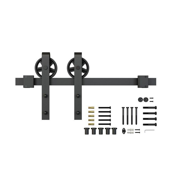 Sliding Barn Door Hardware Kits for Single Wood Doors Up to 39in W | Black Powder Coated Finish | Routed | 78-3/4in Rail Length | SW4IND Series