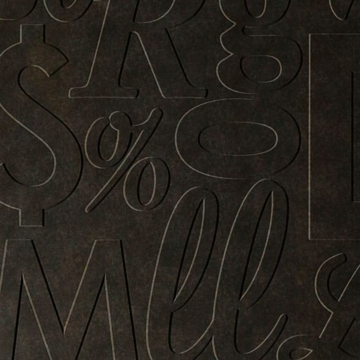 10' Wide x 4' Long Alphabet Soup Pattern Smoked Pewter Finish Thermoplastic Flexlam Wall Panel