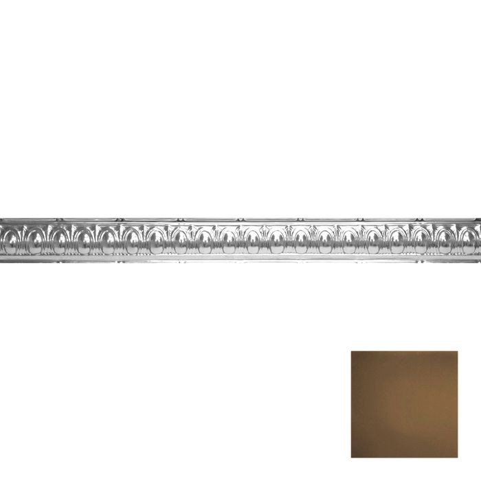 Tin Plated Stamped Steel Cornice | 3-1/2in H x 3-1/2in Proj | Kona Gold Finish | 4ft Long